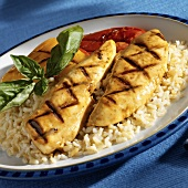 Grilled Chicken Tenders and Bell Peppers Over Rice