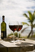 Two Glasses of Red Wine with Bottle on a Table at the Beach