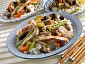 Pork Stir Fry with Straw Mushrooms, Asparagus, Pea Pods and Carrots