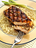 Grilled Salmon with a Teriyaki Glaze Over Brown Rice