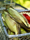 Grilled Corn in a Wire Basket