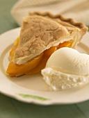 Peach Pie with a Scoop of Vanilla Ice Cream