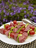Raw Beef and Vegetable Kabobs Ready for the Grill