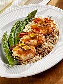 Grilled Lemon Shrimp on Rice with Asian Ginger Sauce