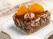 Honey Pecan Square with Apricot Garnish and Glaze