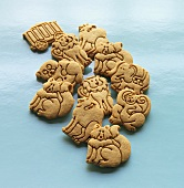 Assorted Animal Cookies on Blue