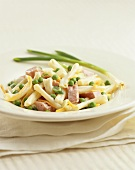 Bowl of Pasta Salad with Ham and Peas