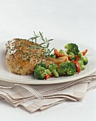 Roast Chicken with Broccoli and Red Bell Pepper with Sesame Seeds, Rosemary Garnish