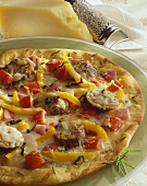 Thin Crust Sausage and Bell Pepper Pizza, Whole