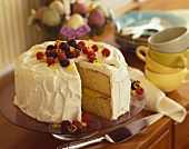 Lemon Layer Cake with Fresh Berries, Slice Removed