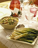 Roasted Leeks and Wild Rice Salad in Serving Dishes on Table