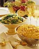 Two Side Dishes in Serving Bowls, Mashed Root Vegetables and Sauteed Cabbage, For Thanksgiving