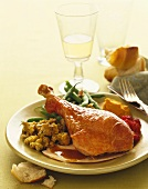Turkey Dinner Plate, Turkey Drumstick, Stuffing and Vegetable Side Dishes, For Thanksgiving