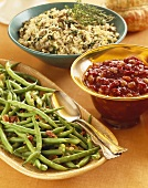 Three Thanksgiving Side Dishes, Green Beans, Cranberry Sauce and Wild Rice