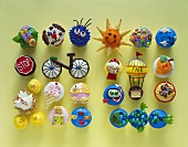 Assortment of Cupcakes Decorated in Fun Youthful Ways, From Above