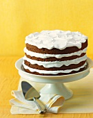 Four Layer Chocolate Cake with Whipped Cream on a Cake Plate, Cake Server