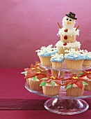 Assorted Winter Cupcakes on a Tiered Dish