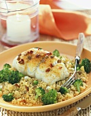 Flounder on a Bed of Couscous with Broccoli