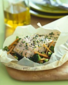 Salmon and Vegetables in a Parchment Paper Pouch