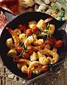Shrimp, Scallops and Tomato in a Cast Iron Pot, From Above