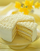 Layered Lemon Cake with Lemon Curd, Sliced, On Cake Plate