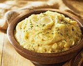 Bowl of Mashed Potatoes with Butter and Parsley