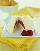 Vanilla, Lemon Raspberry Ice Cream Bombe, Sliced