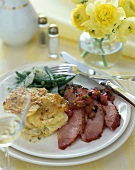 Easter Dinner Plate, Sliced Ham with Scalloped Potatoes and Beans