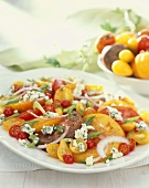 Heirloom Tomato Salad with Blue Cheese on a Platter