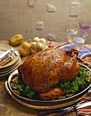 Spicy Southwestern Rubbed Turkey on a Platter