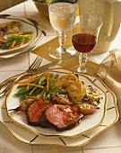 Dinner Plate, Sliced Beef with Gratin Potatoes and Green Beans, Wine