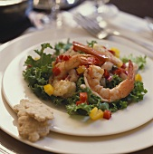 Shrimp Appetizer, Shrimp and Chopped Bell Peppers on Greens