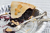 One Piece of Blackberry Pie Left in Pie Pan; Two Forks