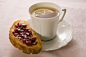 Toast and Jam with a Cup of Tea with Lemon