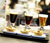 Three Glasses of Beer with Mini Pot Pies