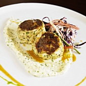 Herbed Crab Cakes on Cheese Grits