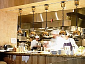 Chefs Working in a Busy Restaurant Kitchen
