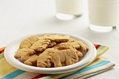 Plate of Animal Crackers with Two Glasses of Milk