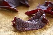 Pieces of Beef Jerky Close Up