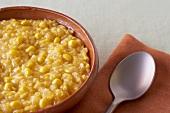 Bowl of Creamed Corn; Spoon