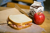 School Lunch; Ham and Cheese Sandwich, Apple and Chocolate Milk