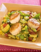 Seared Scallops with Lima Beans, Zucchini, Corn and Tomatoes