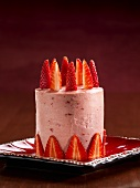 Tall Strawberry Cake with Strawberry Buttercream Icing