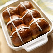 Hot Cross Buns in a Baking Dish