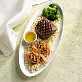 Surf & Turf on Brown Rice with Broccoli; Grilled Shrimp and Steak