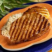 Grilled Boneless Teriyaki Pork Chops with Pineapple and Rice