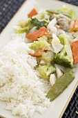 Chicken chop suey with rice