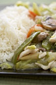 Chicken and vegetable chop suey with rice, close-up