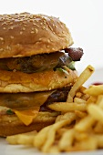 Barbecue Bacon Double Cheeseburger with Fries