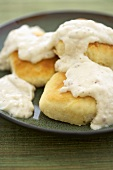 Biscuits Topped with White Gravy